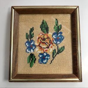 Flowers Needlepoint Picture MCM Vintage Picture
